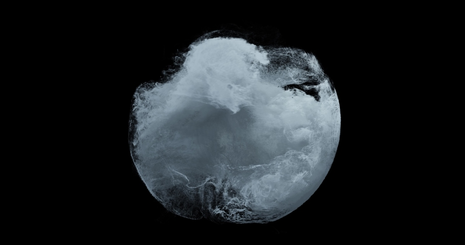 Water splashing in a sphere with motion turbulence. Weather Storm, Dangerous water surge, vortex, abstract particles swirling and flowing on black background. Great for overlay or logos. 3D render | Shutterstock HD Video #1057791208