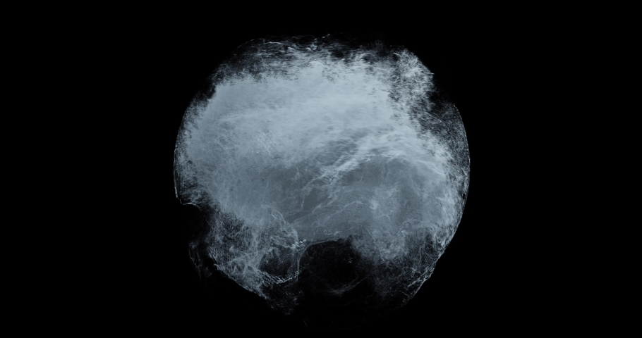 Water splashing in a sphere with motion turbulence. Weather Storm, Dangerous water surge, vortex, abstract particles swirling and flowing on black background. Great for overlay or logos. 3D render Royalty-Free Stock Footage #1057791208
