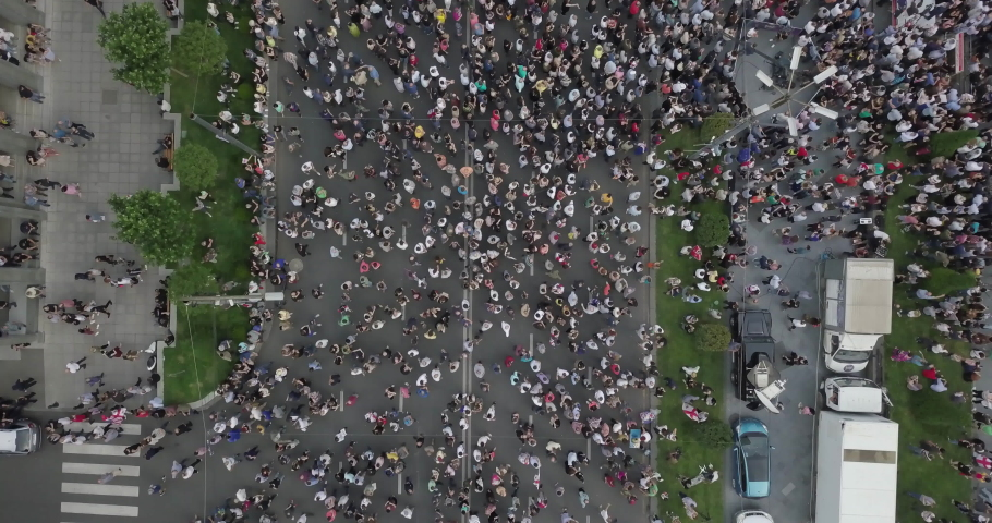 Manifest against the government overhead aerial view