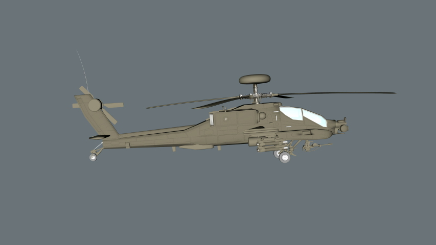 3D Military Apache helicopter rotating animation. Combat helicopter loop animation