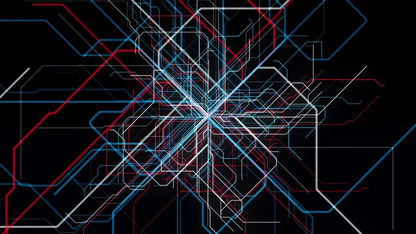 Concept of artificial intelligence and multiple choice. Animation. Abstract colorful straight lines appear in the center of black screen and spreading into the sides. | Shutterstock HD Video #1057794556