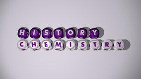 history chemistry 60 FPS video footage emerging letters, 3D animation of rendering illustration