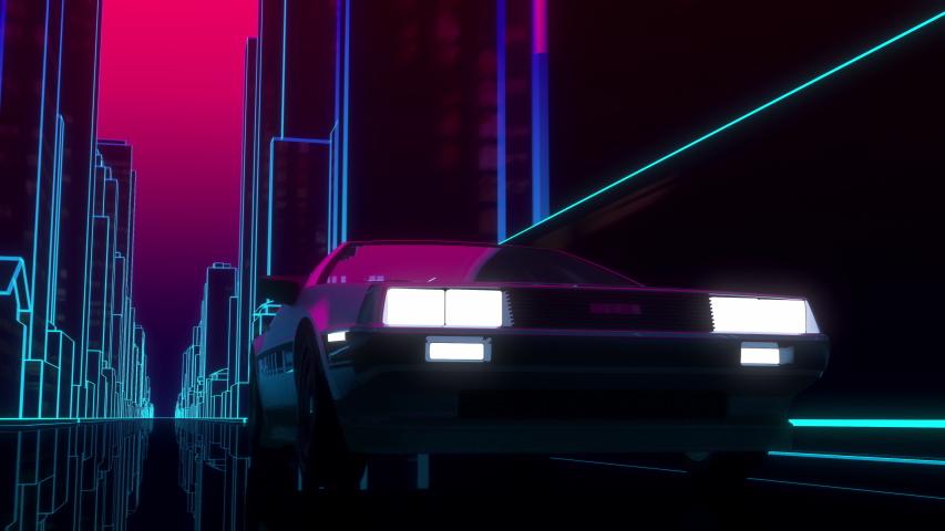 Car driving through 80's style neon futuristic city | Shutterstock HD Video #1057798711