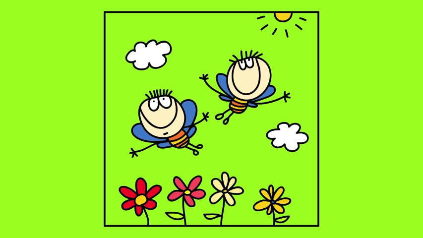 Cute scene inside a frame with happy bees with the bodies of two kids flying over a garden with colorful flowers on a sunny day under white fluffy clouds   Shutterstock HD Video #1057803181