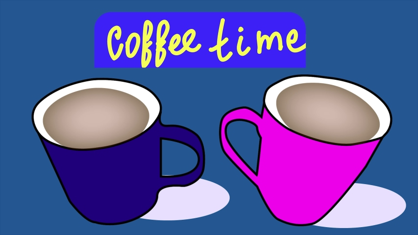 Animation, advertising of a cafe or restaurant, coffee time