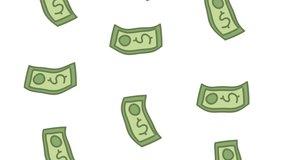 bills money dollars economy animation ,4k video animated