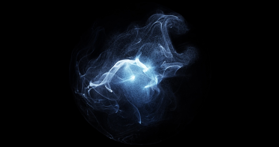 Wispy smoke in motion inside sphere. perfect for logos and overlay effect. gas, smoke, fluid isolated on black background. Plasma, mist, chemical effect. Abstract shapes. 3D render 4K loop