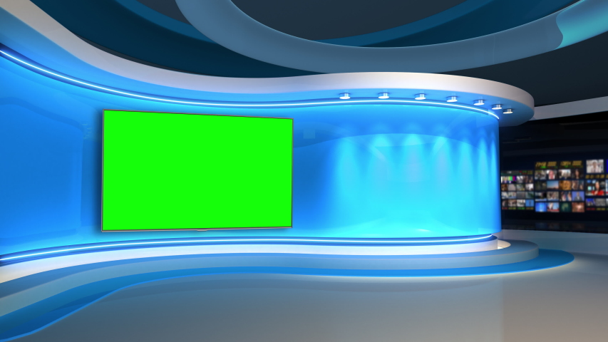 Tv studio. News room. Blye background. News Studio. Studio Background. Newsroom bakground. The perfect backdrop for any green screen or chroma key video production. Loop.  3D rendering.