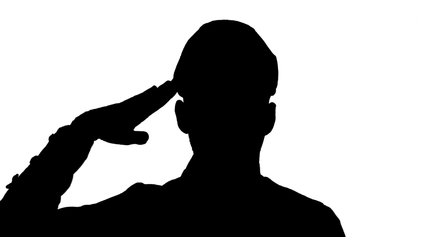 Man soldier saluting, black silhouette on white background. Royalty-Free Stock Footage #1057844092