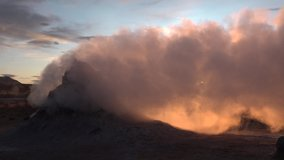 Iceland. Landscape nature video of volcano geothermal volcanic activity fields showing volcanic active fumaroles.