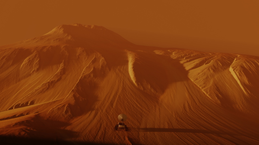 Following a mars rover on red planet surface. Landscape mission science and space cosmos galaxy exploration in univers and space, robot vehicle in cosmos. 3D render animation