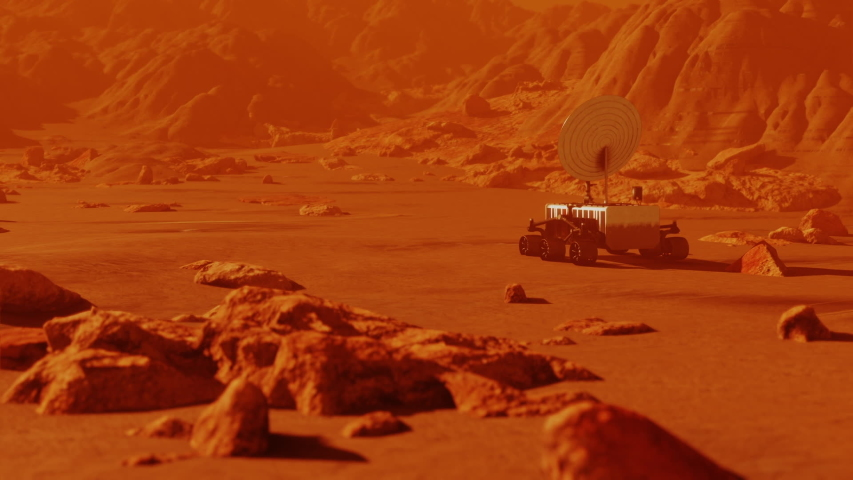 Mars robot searching red planet surface. Landscape mission science and space cosmos galaxy exploration in univers and space, robot vehicle in cosmos. 3D render animation