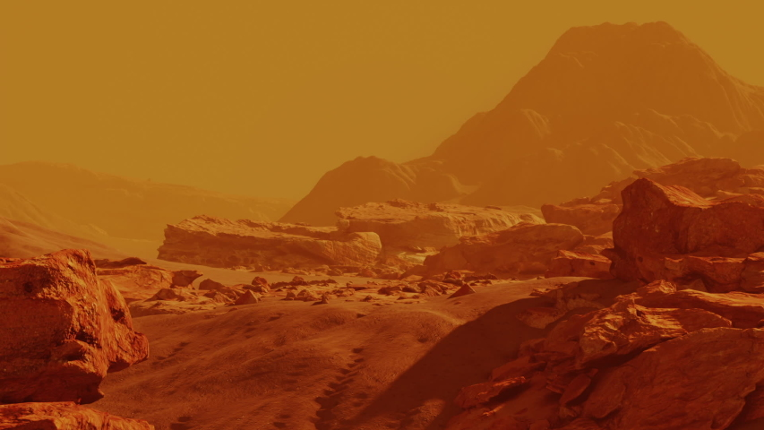 Scene from the red planet mars tonned in yellow color. Surface storm exploration of cosmos and other life forms, desert universe. 3D render animation
