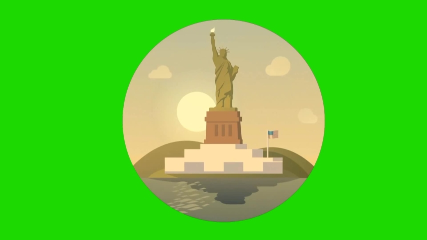 Statue of liberty Cartoon animation - in New York Harbor in New York City - Statue of Liberty National Monument United state An archaeological statue and World landmark With a copper Golden flame