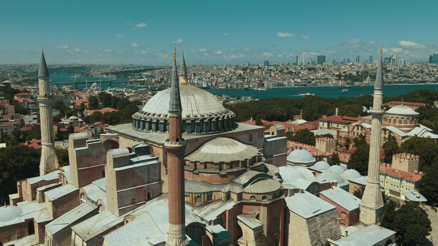 Aerial view of Hagia Sophia mosque and view of Istanbul in daylight | Shutterstock HD Video #1057867057