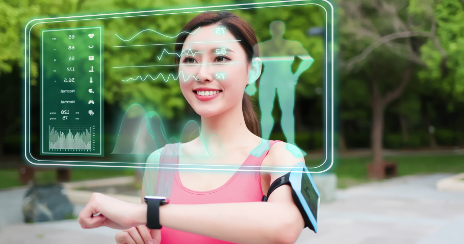 smart watch technology concept - sport asia woman use fitness tracker and touch virtual screen Royalty-Free Stock Footage #1057877947