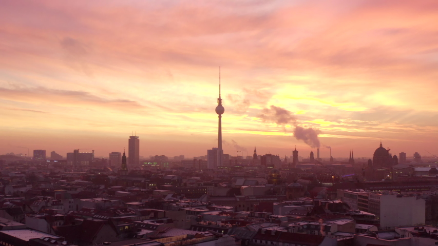 Wide Establishing Shot with Fire Sunset, Berlin