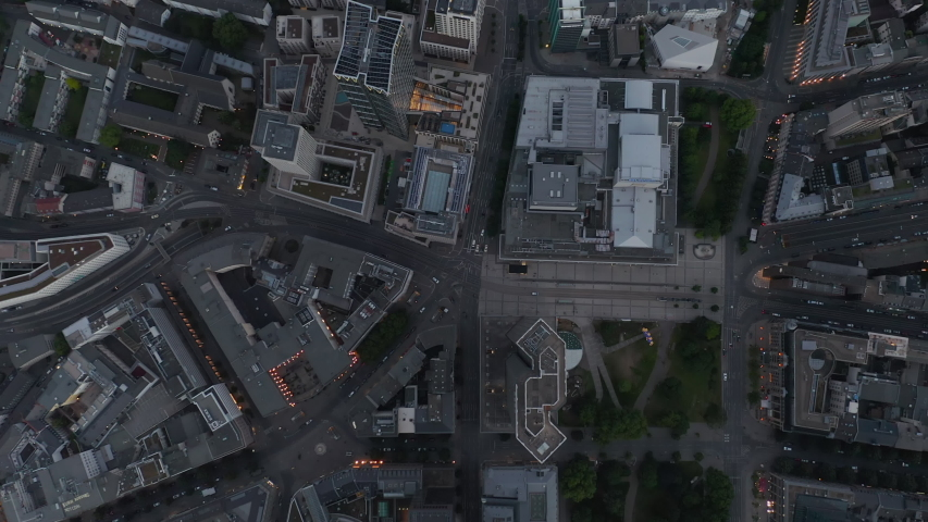 AERIAL: Incredible Overhead Top Down Shot of Frankfurt am Main, Germany City Center Skyline with little Traffic Streets due to Coronavirus Covid 19 Pandemic