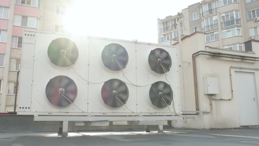Heating Ventilating and Air Conditioning Units on the Roof Royalty-Free Stock Footage #1057905055