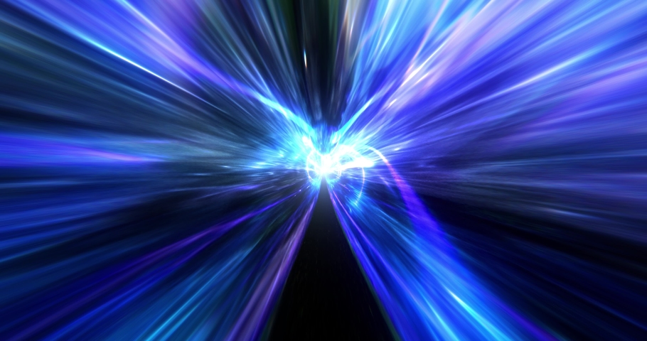 Abstract  science fiction energy tunnel in space seamless loop. Wormhole travel through time and space. Wormhole space deformation. Black hole, vortex hyperspace tunnel. 4k 3D render. Royalty-Free Stock Footage #1057908631