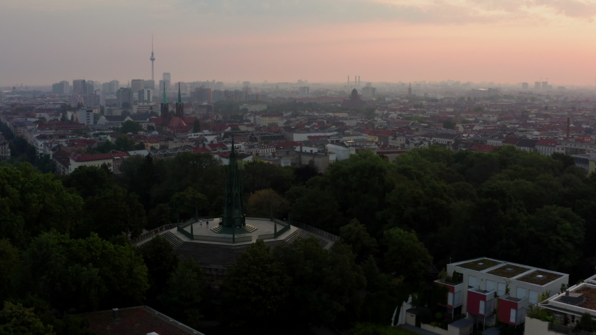 Berlin Germany Aerial over city at sunrise