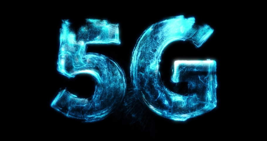 Abstract 5G Network Internet Mobile Wireless Business concept. Fluid particles, turbulent motion building 5G network. 5G network, high-speed mobile Internet, new generation networks concept. 3D render Royalty-Free Stock Footage #1057912603