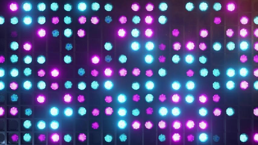 Flicker wall lights. Flashing lights Lanterns for clubs and discos. Matrix beam headlights. Nightclub halogen lamp. Modern neon spectrum. Seamless loop 3d render
