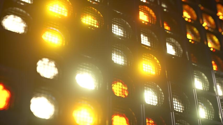 Flashing wall lights. Flashing lights Lanterns for clubs and discos. Matrix beam headlights. Nightclub halogen lamp. Seamless loop 3d render | Shutterstock HD Video #1057916977
