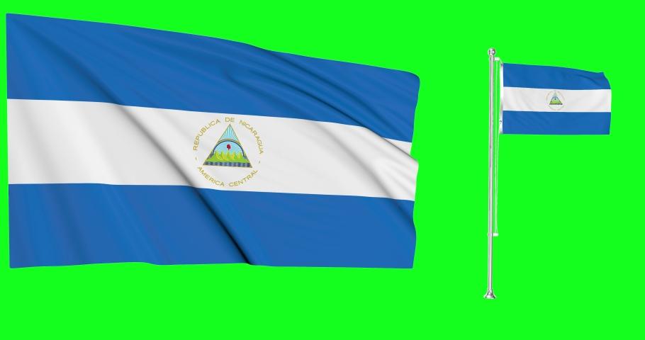 Nicaragua waving nicaraguan waving two flags waving Nicaragua green screen nicaraguan green screen flag green screen Nicaragua flagpole nicaraguan flagpole flag Nicaragua pole animation nicaraguan 3d
