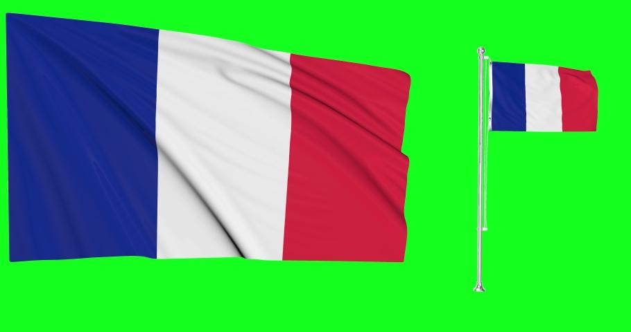 Two flags waving France waving flag national french national France national flagpole green screen french green screen France green screen french flag flagpole waving animation flags chroma key 3d 4k | Shutterstock HD Video #1057923553