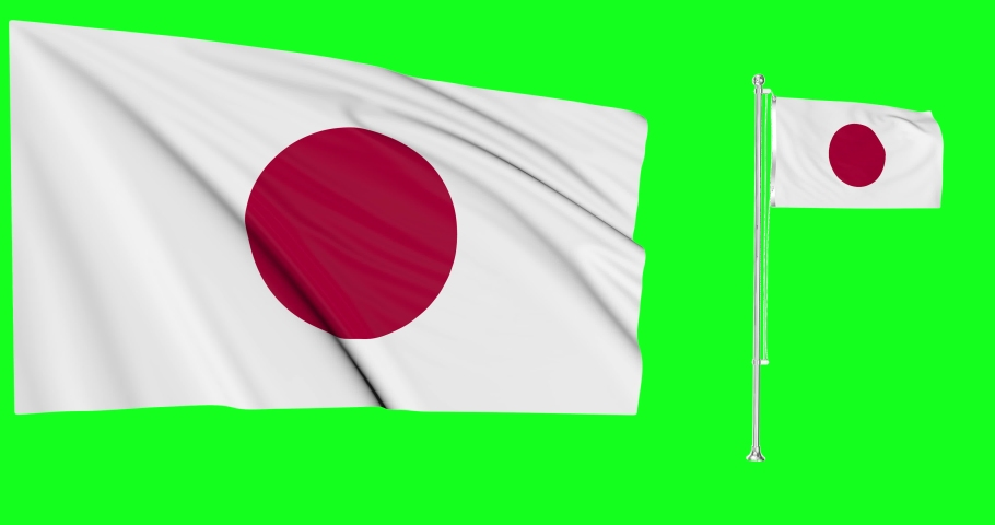 Japan green screen two flags green screen waving green screen Japan japanese flagpole japanese waving japanese Japan national flag national waving national Japan flagpole waving chroma key animation | Shutterstock HD Video #1057923637