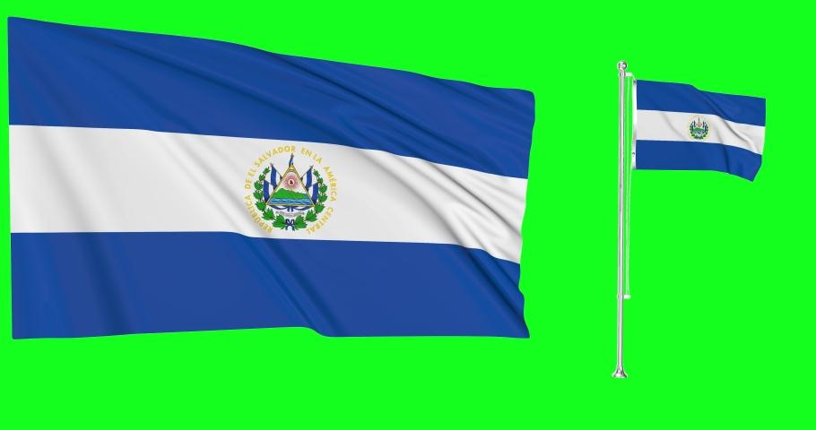 Two flags waving El Salvador waving salvadoran waving flagpole national El Salvador national flag green screen El Salvador green screen salvadoran green screen flagpole animation El Salvador 3d