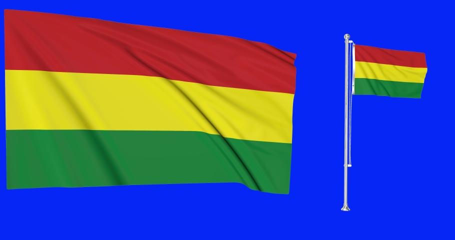 Two flags waving Bolivia waving bolivian waving flagpole national Bolivia national bolivian national flag green screen Bolivia green screen bolivian green screen flagpole Bolivia animation bolivian 3d