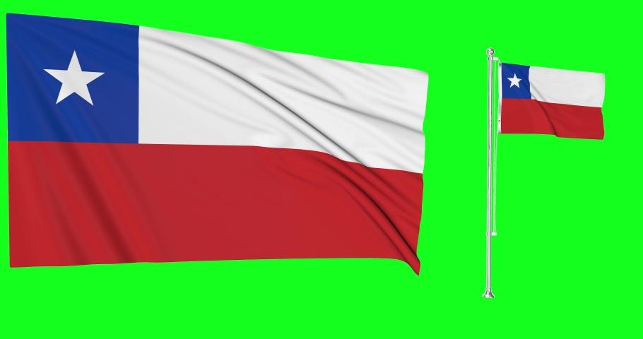 Two flags waving Chile waving chilean waving flagpole national Chile national chilean national flags green screen Chile green screen chilean green screen flagpole  animation Chile chilean animation 3d | Shutterstock HD Video #1057923769