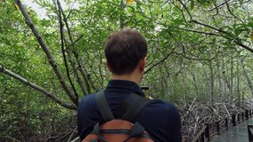 Young Handsome Man Traveler with Backpack on His Back Makes a Video on a Smartphone in a Mangrove Forest. Tourist Shooting a Stories Clip on for Social Media by Phone on a Wooden Boardwalk in a Woods.