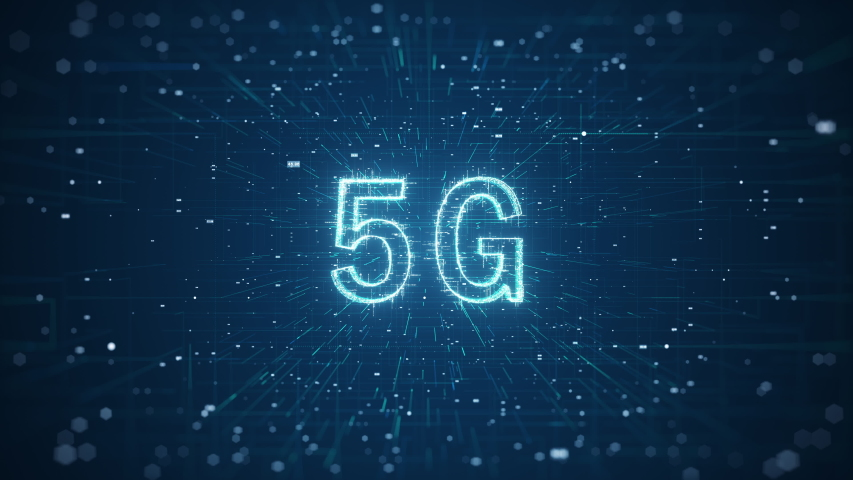 5G network digital concept. 5G High speed internet network communication technology for internet business. Global world network and telecommunication on earth cryptocurrency and blockchain and IoT.  Royalty-Free Stock Footage #1057954345