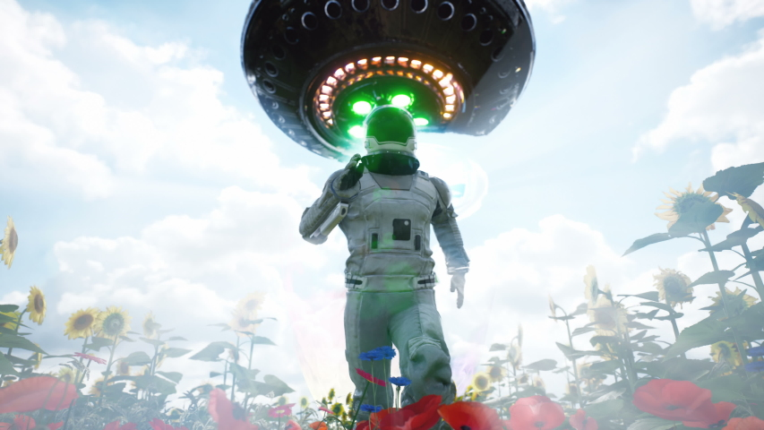 An alien flying saucer chases an astronaut running through a flower field. The concept of a UFO or alien spacecraft. Looping animation for science fiction, fantasy, or space backgrounds.