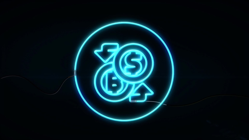 Business, Technology, Internet and network concept. ICO Initial Coin Offering.Neon sign