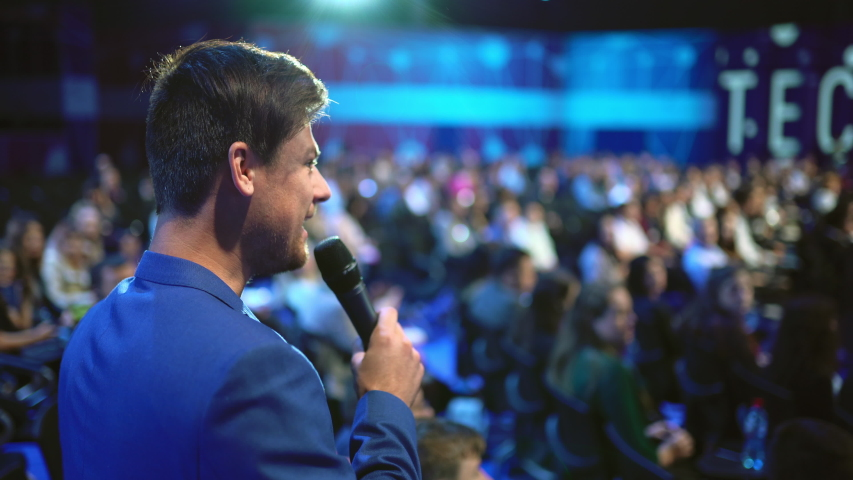 Viewer crowded audience speak with speaker in microphone. Participant forum speaking. Educational speech business man. Speaker group auditorium people. Presenter talk. Education conference spectator. Royalty-Free Stock Footage #1057995727
