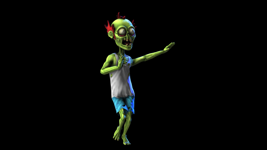 Seamless animation of a zombie dancing salsa isolated with alpha channel. Funny cartoon character for Halloween background.