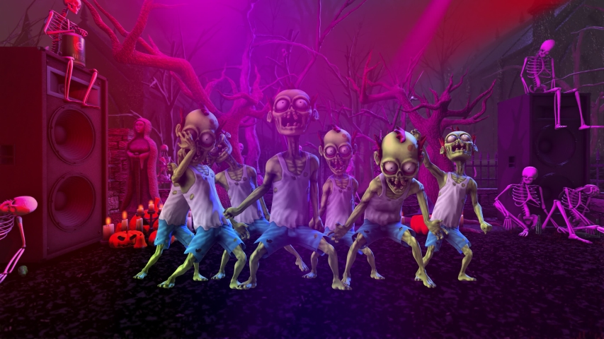 Seamless animation of a zombie thriller dancing in a party at a graveyard with skeletons and pumpkins. Funny cartoon character for Halloween background.