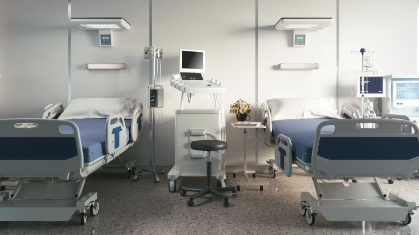 Two empty bed in a hospital room with medical equipment Royalty-Free Stock Footage #1058001127