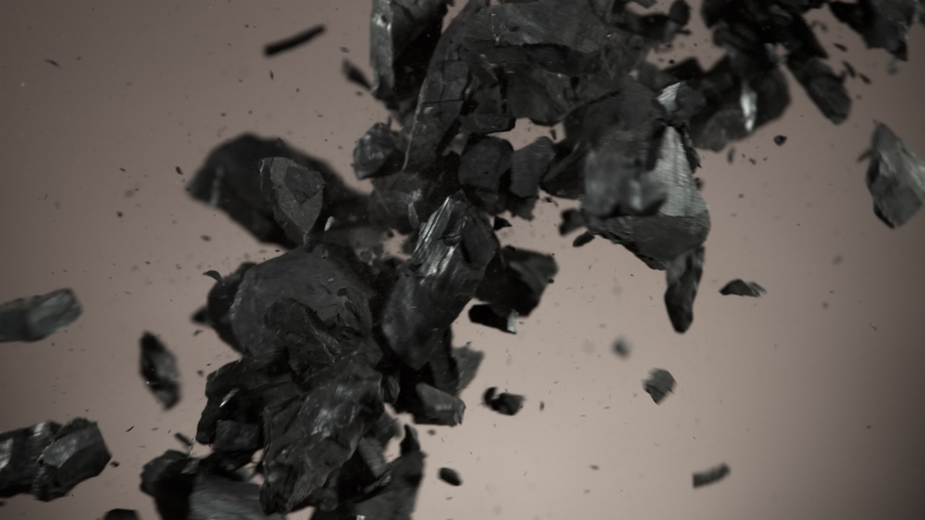 Super slow motion of collision of coal pieces. Filmed on high speed cinema camera, 1000fps.
