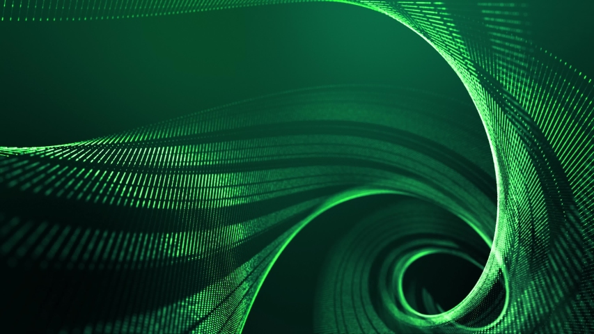 4k looped abstract green background of glow particles form lines, surfaces, spiral structures as futuristic landscape in cyberspace or hologram. Sci-fi theme with DOF, lighting effects and bokeh. | Shutterstock HD Video #1058005510