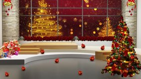 Dark red colour christmas tree background in window for TV program with holiday theme. Seamless loopable HD video.