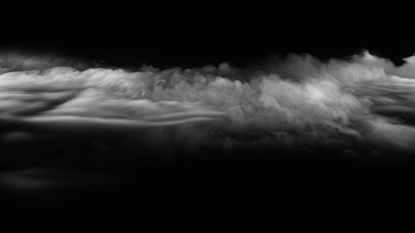 Abstract white smoke in slow motion. Smoke, Cloud of cold fog in light spot background. Light, white, fog, cloud, black background, 4k, ice smoke cloud. Floating fog. 3d SMOKE MODEL