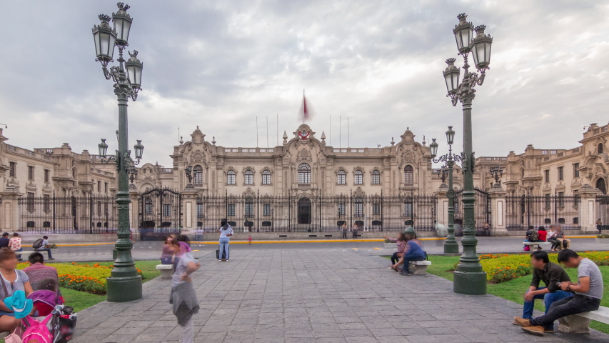 Palacio de Gobierno or The Government Palace also known as House of Pizarro timelapse hyperlapse on plaza mayor. It is the seat of the executive branch of the Peruvian Government and the official Royalty-Free Stock Footage #1058016817