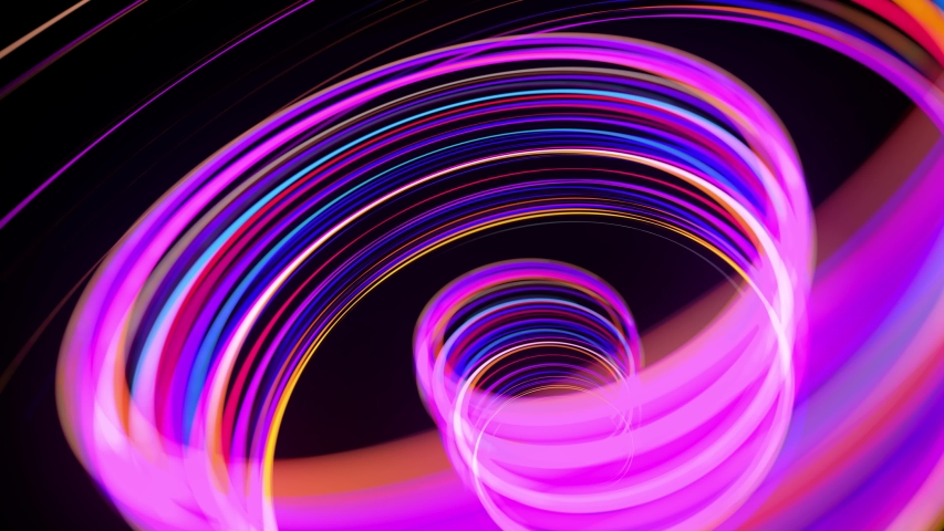 Motion graphics, sci-fi bg. Stream of multicolor neon lines form spiral shape, curls and pattern. Abstract background with light trails, Modern trendy motion design background. Light flow bg in 4k. | Shutterstock HD Video #1058017330