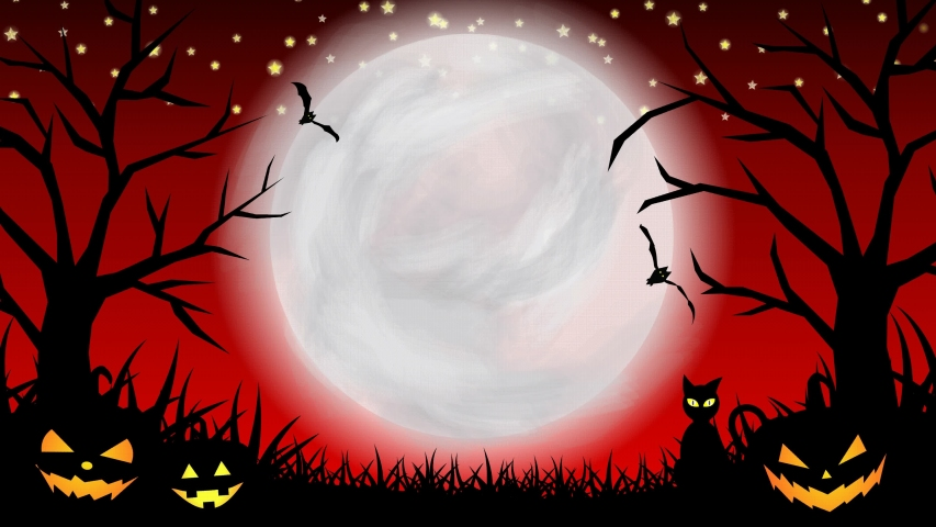 Halloween background animation with the concept of red sky, moon, shining stars, animated trees and grasses, flying bats and ghosts, blinked cat, scary pumpkins. Scary night of halloween animation | Shutterstock HD Video #1058030398