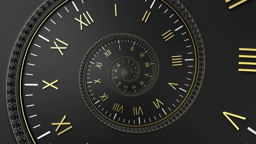 Abstract modern black spiral clock dial. Infinite time concept. | Shutterstock HD Video #1058032867